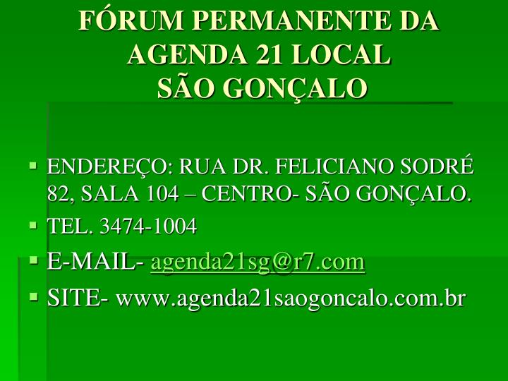 FÓRUM PERMANENTE DA AGENDA 21 LOCAL