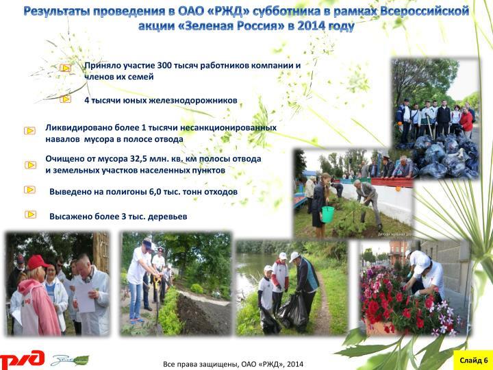 Результаты проведения в ОАО «РЖД» субботника в рамках Всероссийской акции «Зеленая
