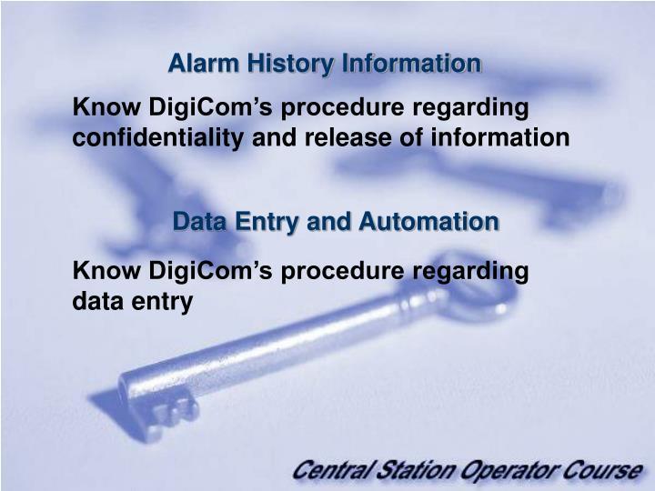 Alarm History Information