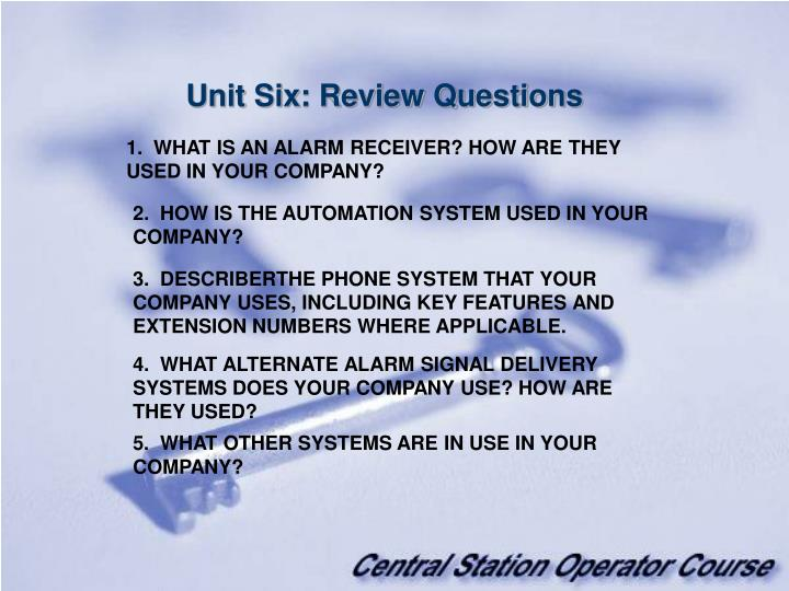 Unit Six: Review Questions
