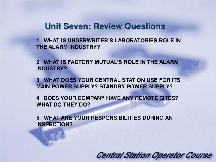 Unit Seven: Review Questions