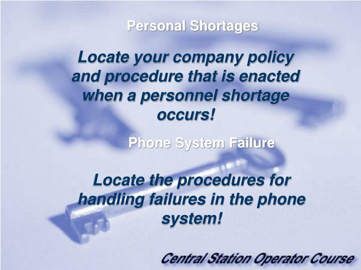 Personal Shortages