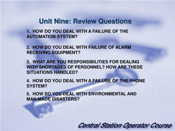 Unit Nine: Review Questions