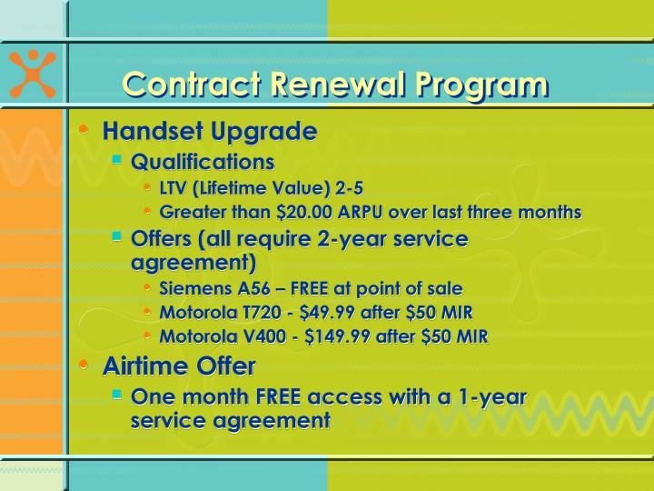 Contract Renewal Program