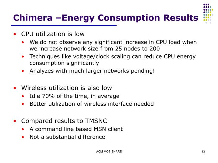 Chimera –Energy Consumption Results