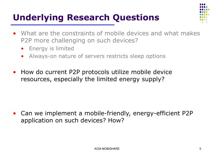 Underlying Research Questions