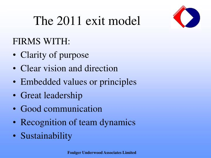 The 2011 exit model