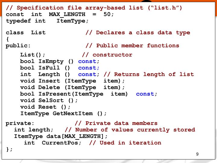 "// Specification file array-based list (""list.h"")"
