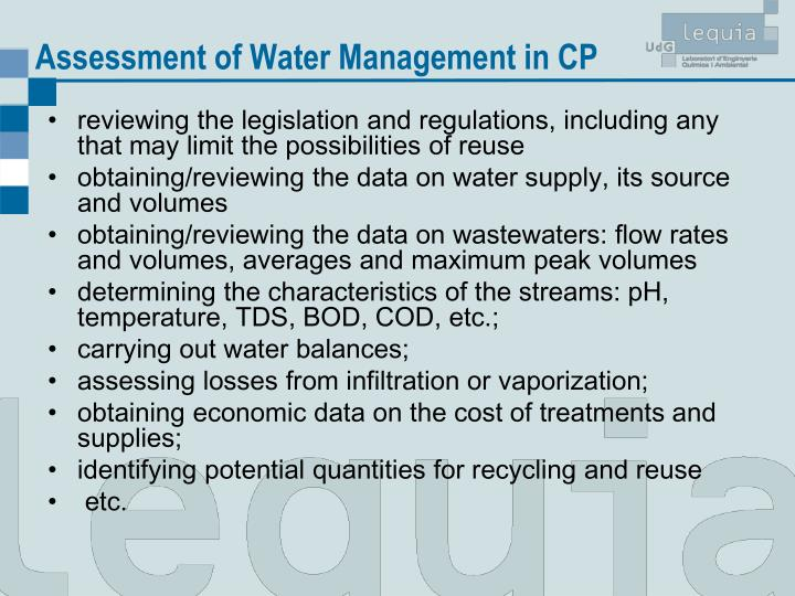Assessment of Water Management in CP