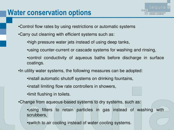 Water conservation options