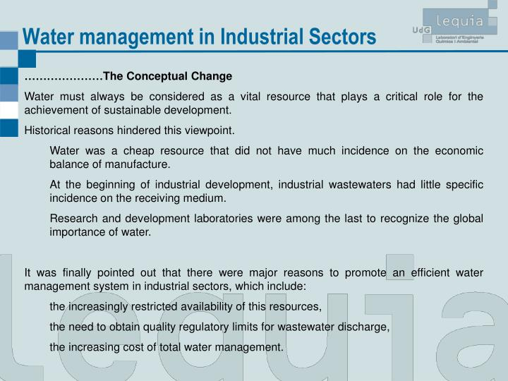 Water management in Industrial Sectors