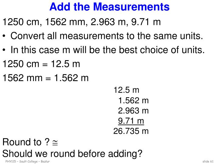 Add the Measurements