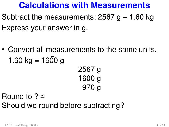Calculations with Measurements