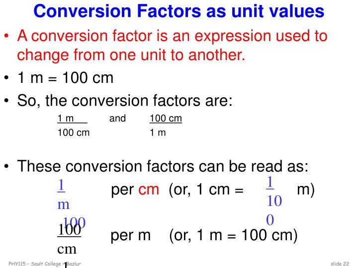 Conversion Factors as unit values