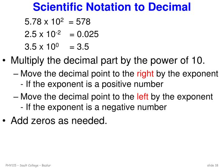 Scientific Notation to Decimal