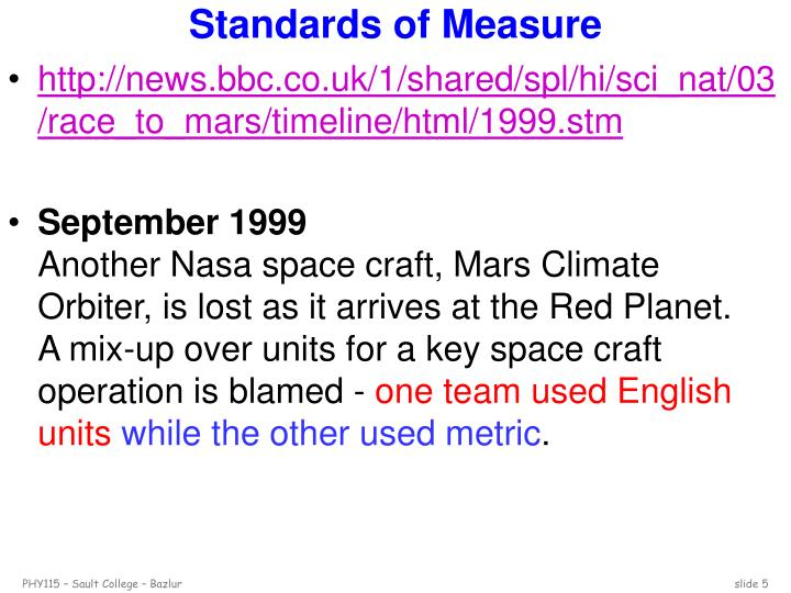 Standards of Measure