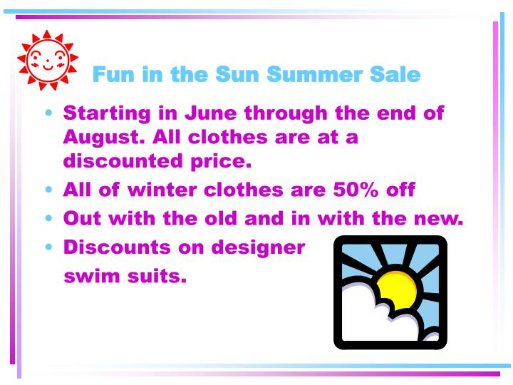 Fun in the Sun Summer Sale