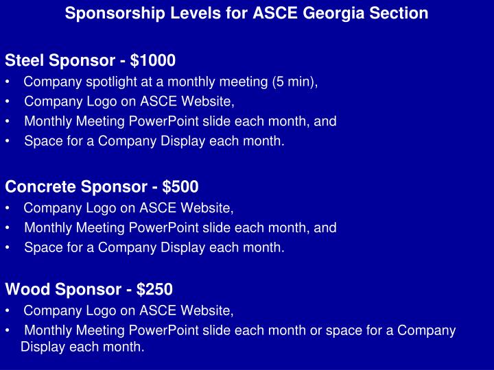 Sponsorship Levels for ASCE Georgia Section