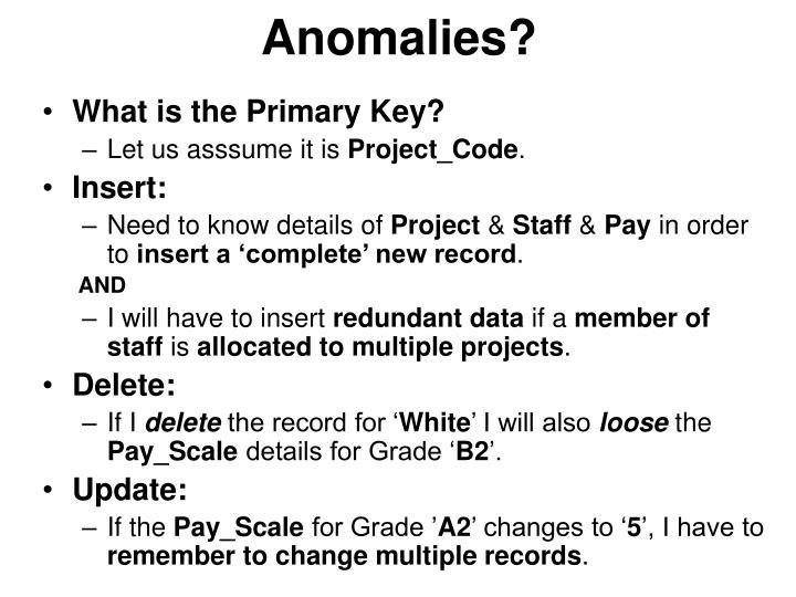 Anomalies?