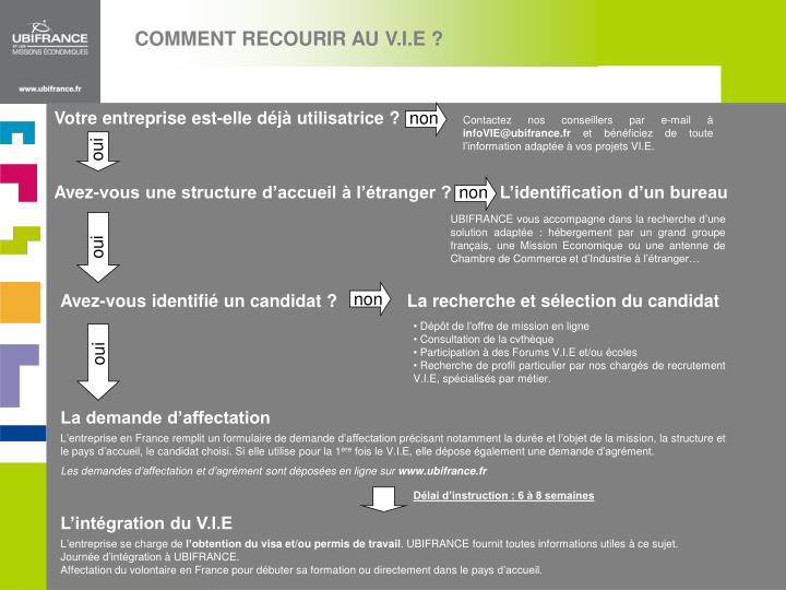 COMMENT RECOURIR AU V.I.E ?