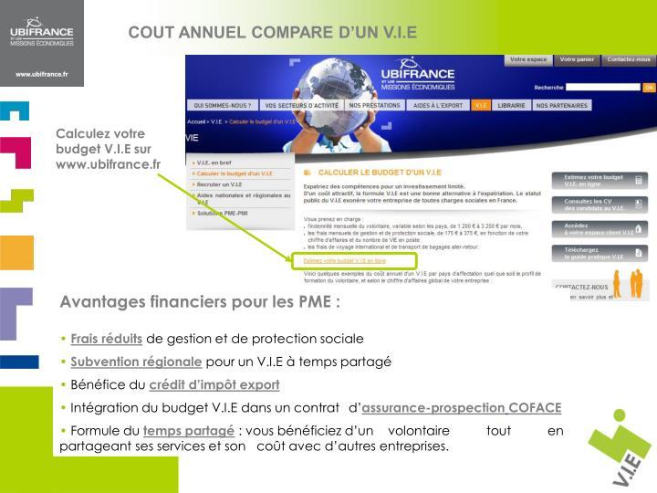 COUT ANNUEL COMPARE D'UN V.I.E