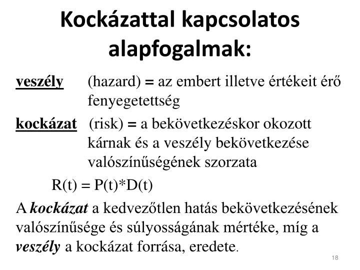 Kockázattal kapcsolatos alapfogalmak: