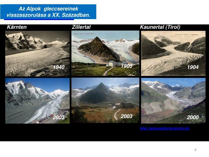 Az Alpok  gleccsereinek