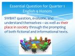 essential question for quarter 1 english 9 honors