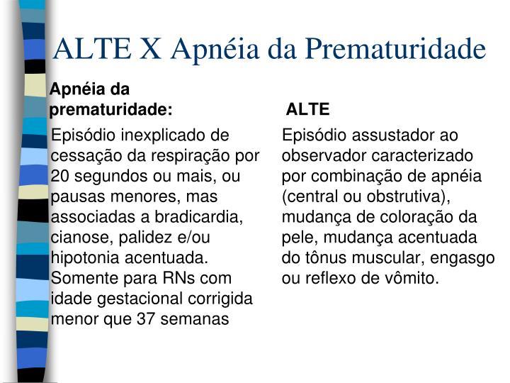 ALTE X Apnéia da Prematuridade