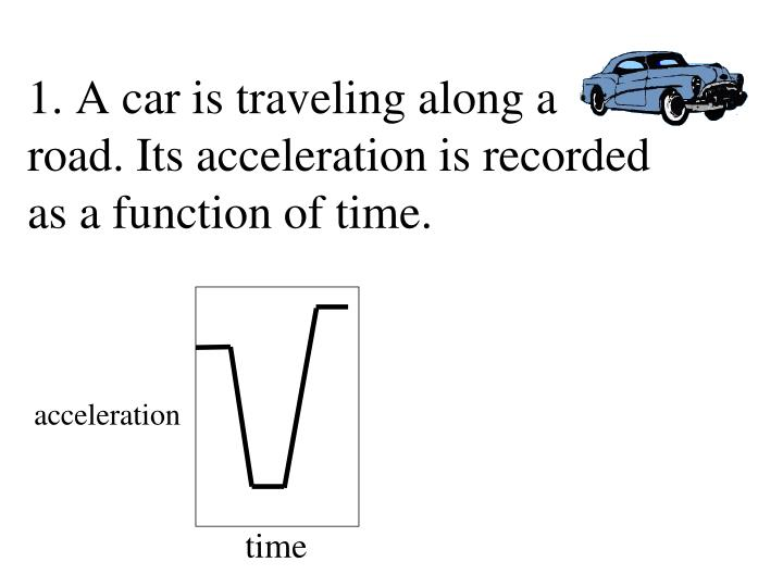 1. A car is traveling along a road. Its acceleration is recorded as a function of time.