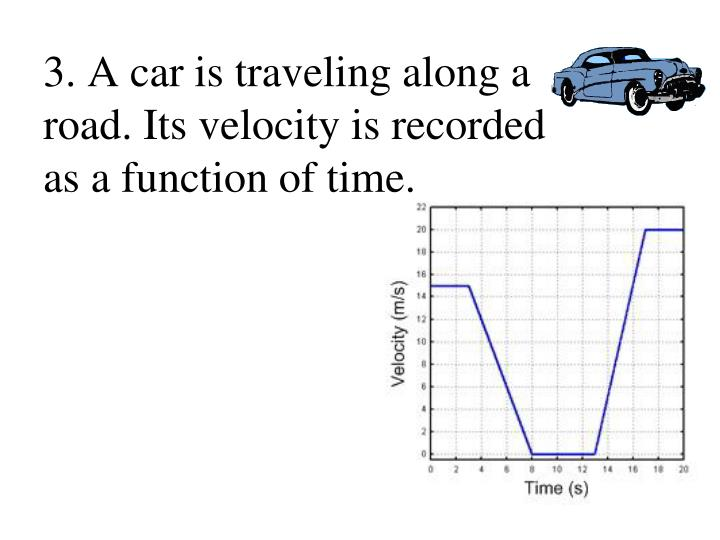3. A car is traveling along a road. Its velocity is recorded as a function of time.