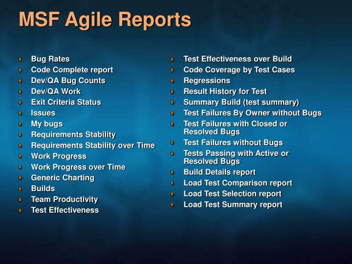 MSF Agile Reports