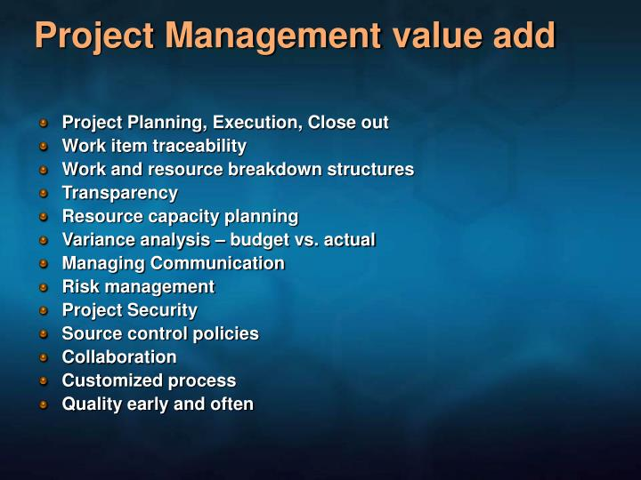Project Management value add