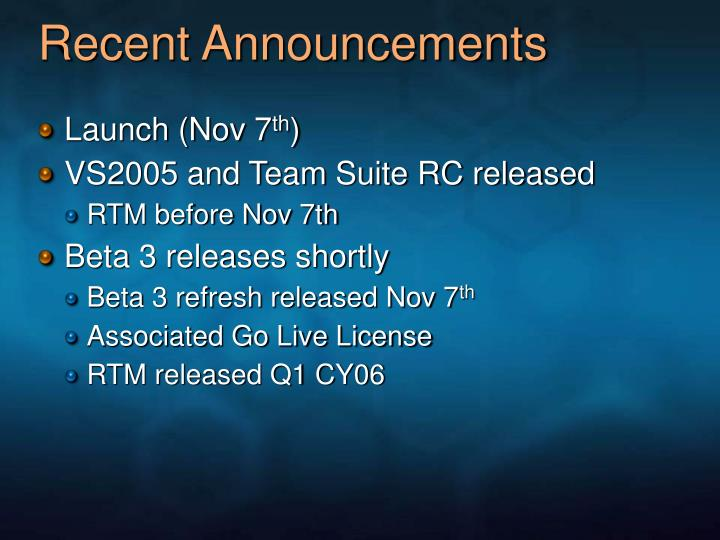 Recent Announcements