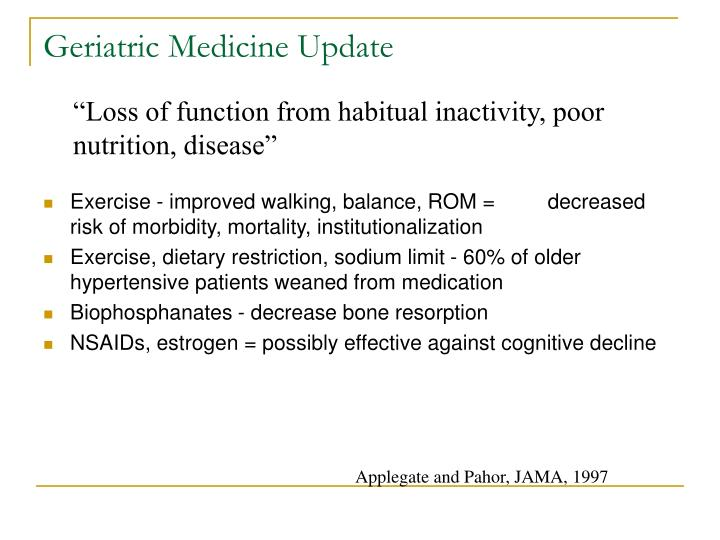 Geriatric Medicine Update