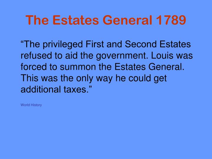 The Estates General 1789