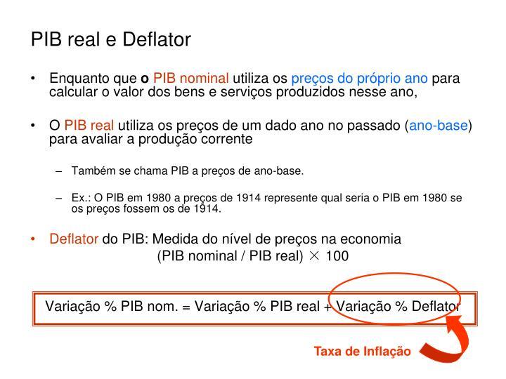 PIB real e Deflator