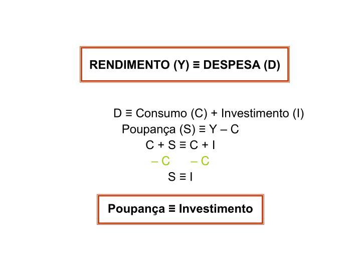 RENDIMENTO (Y) ≡ DESPESA (D)
