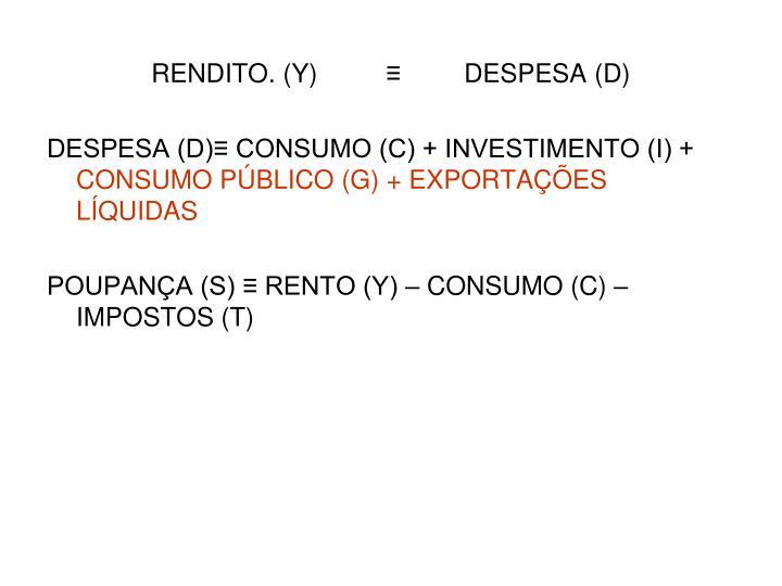 RENDITO. (Y)≡DESPESA (D)