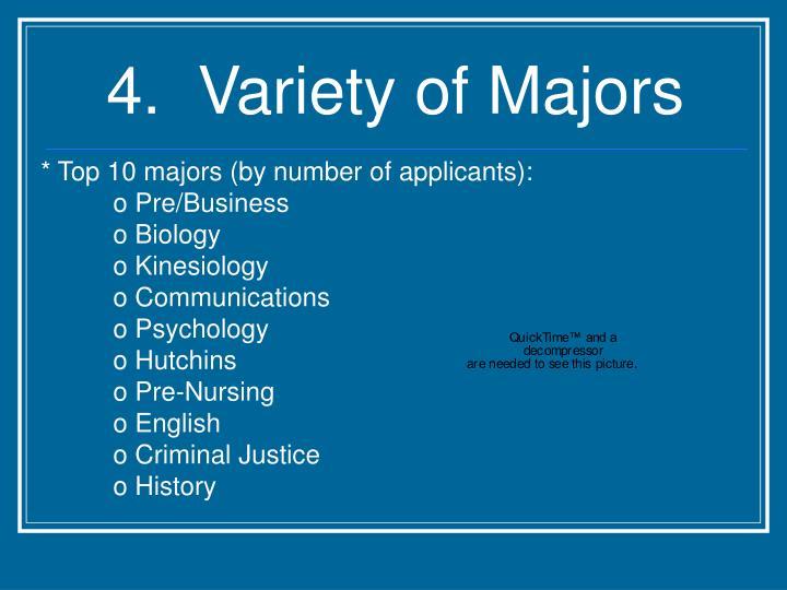 4.  Variety of Majors