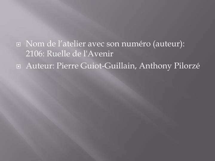 Nom de l'atelier avec son numéro (auteur): 2106: Ruelle de l'Avenir
