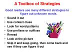 a toolbox of strategies