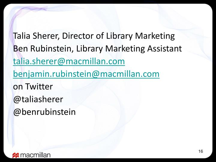 Talia Sherer, Director of Library Marketing