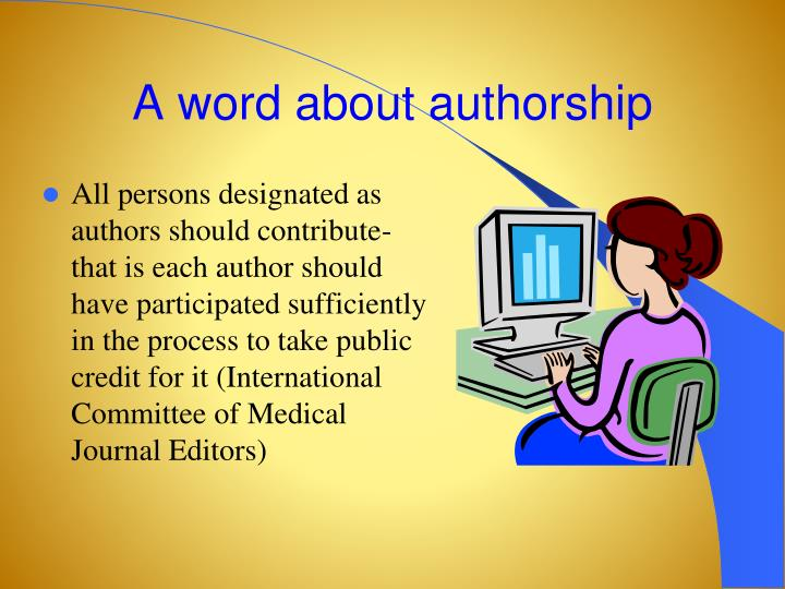 A word about authorship