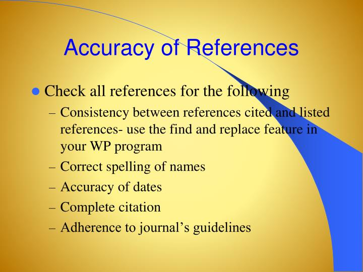 Accuracy of References