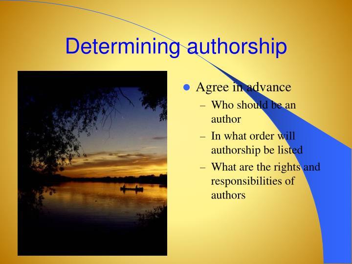 Determining authorship