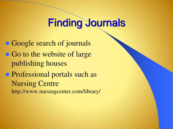 Finding Journals