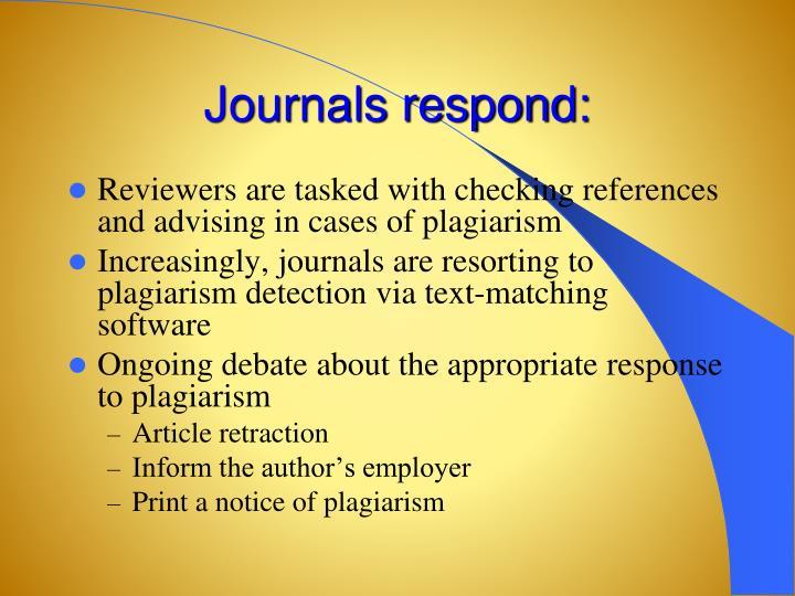 Journals respond: