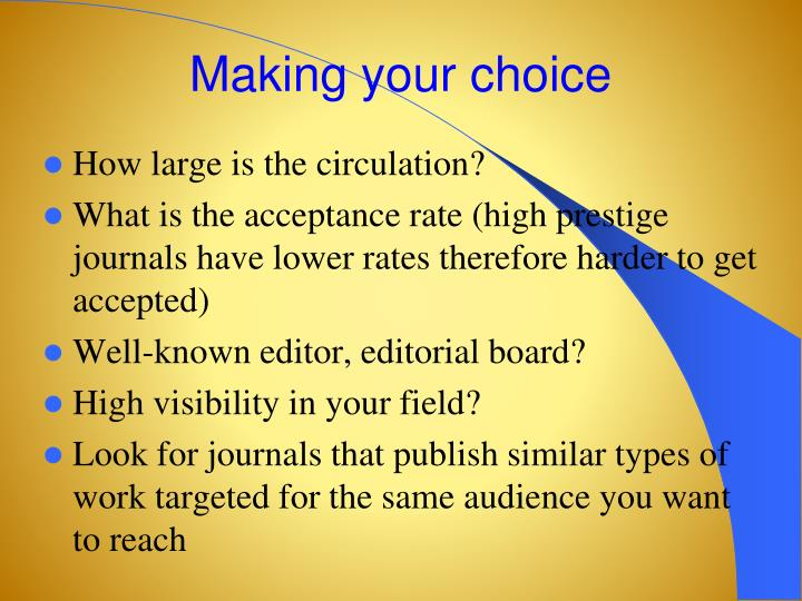 Making your choice