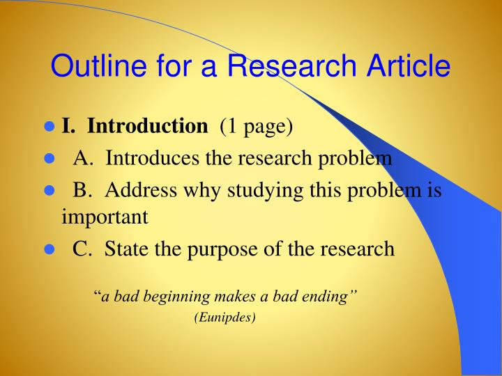 Outline for a Research Article